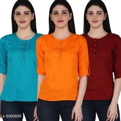 Tops & Tunics Women's Rayon Combo Tops Fabric: Rayon Sleeve Length: Three-Quarter Sleeves Pattern: Solid Multipack: 3 Sizes: S (Bust Size: 36 in Length Size: 26 in)  XL (Bust Size: 42 in Length Size: 26 in)  L (Bust Size: 40 in Length Size: 26 in)  M (Bust Size: 38 in Length Size: 26 in)  XXL (Bust Size: 44 in Length Size: 26 in) Country of Origin: India Sizes Available: S, M, L, XL, XXL   Catalog Rating: ★4.1 (11681)  Catalog Name: Women's Rayon Combo Tops CatalogID_1016457 C79-SC1020 Code: 014-6390839-2301