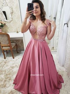 Gorgeous Ball Gown Round Neck Open Back Rose Red Satin Lace Long Prom Dresses, Elegant Evening Dresses Formal Dresses With Sleeves, Wedding Dress With Pockets, A Line Prom Dresses, Grad Dresses, Long Wedding Dresses, Sexy Dresses, Bridesmaid Dresses, Long Dresses, Satin Dresses