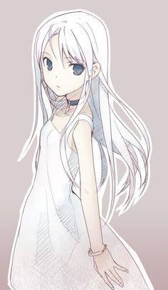 anime girl art white