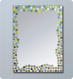 Bathroom Mirror W/Colorful Mosaic Tiles. I Bet I Could Do This With My