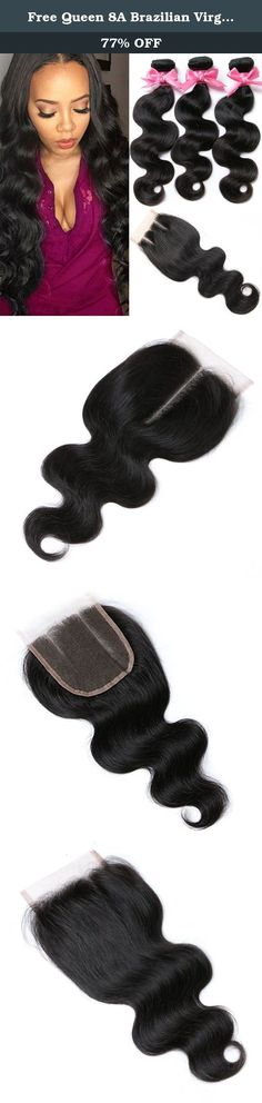 """Free Queen 8A Brazilian Virgin Hair 3 Bundles with Closure 100% Unprocessed Human Hair Weave With Lace Closure (12"""" 14"""" 16""""+10""""closure, Three Part). All of Free Queen Hair is 100% unprocessed brazilian human virgin hair. About The Hair Extension -- Hair Material:6A Grade 100% Virgin Brazilian Human Hair -- Brazilian Virgin Hair Body Wave, Human Hair Weave Bundles -- Weight:95-105g per bundle. -- Natural Black Color,Can Be Dyed and Permed. -- Double Weft,Exquisite Top Weft, Tight and Neat…"""