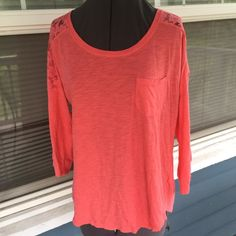 MAURICES Coral Lace Yoke Tee Top MAURICES Coral Lace Yoke Tee Top.   3/4 sleeves.  Breast pocket.  Rounded hemline.  Coral cotton/modal blend material.  Great condition. Maurices Tops
