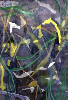 """Espiritualidad Contemporánea:                                      """"se despiertan del silencio"""" collage sobre papel """"Acuático"""" de José Vega poema del libro """"Hagan lo que Él les diga"""" de Moni Indiveri de Vega"""