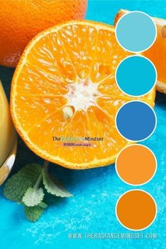 Orange in marketing is a color with a high degree of positivism and can be rejuvenating in difficult moments. Orange can also represent new beginnings. Orange Palette, Orange Color Palettes, Blue Colour Palette, Colour Schemes, Complementary Color Wheel, Complimentary Colors, Marketing Colors, Color Harmony, Color Theory