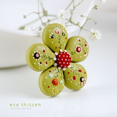 *POLYMER CLAY ~ Bloom. Hand made polymer clay brooch in apple green by EvaThissen