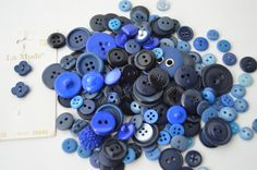 Blue Colored Buttons - Varied sizes, shades, & Styles x 100+ by Boxtreasures on Etsy