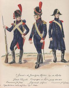 Cannoniere, sottufficiale e cannoniere di una compagnia di artiglieria della 2 armata di Murat