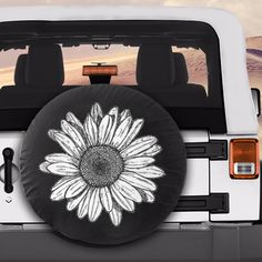 White Sunflower Flower Spare Car Tire Cover - Furniture - The Effective Pictures We Offer You About cars cake A Jeep Wrangler Tire Covers, Jeep Wrangler Wheels, Jeep Spare Tire Covers, White Jeep Wrangler, Jeep Tire Cover, Jeep Wheels, Tire Covers For Jeeps, Jeep Wranglers, Accessoires De Jeep Wrangler