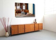 60er Sideboard Lowboard in Teak mit Schiebetüren