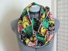 Marvel Comic Super Heros Faces Flannel Fabric by AquamarCouture