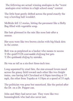 hilarious dumb analogies. i almost cried reading these.