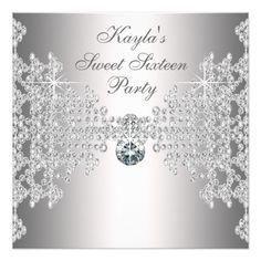Silver Diamonds White Sweet Sixteen Birthday Party Card