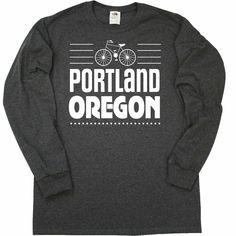 Inktastic Portland Oregon Biking Long Sleeve T-Shirt Cities Or Mountain Fitness Portland City, Portland Oregon, Bicycle Design, Baby & Toddler Clothing, Heather Black, Biking, Fitness Fashion, Cities, Mountain