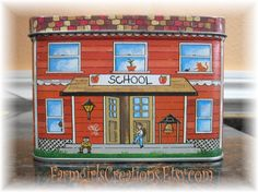 Lithograph School House Tin by FarmgirlsCreations on Etsy