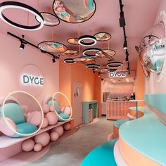 DYCE Dessert Bar Has Opened In London With A Pastel Pink Interior - Design agency FormRoom, has recently completed DYCE, a modern dessert bar in London, that's just - Design Shop, Café Design, Store Design, Design Ideas, Design Concepts, Cafe Interior Design, Commercial Interior Design, Commercial Interiors, Colorful Interior Design