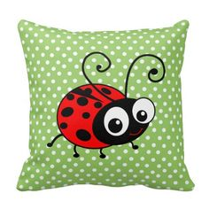 Shop Cute Ladybug Polka Dots Green & Red Cushion created by inspirationzstore. Green Cushions, Red Pillows, Throw Pillows, Polka Dot Theme, Polka Dots, Ladybug Nursery, Black Ladybug, Quilted Pillow, Custom Pillows