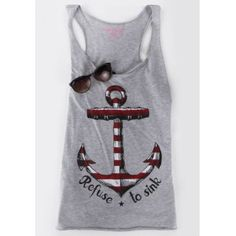 Casual Scoop Neck Anchor Print Tank Top For Women (GRAY,XL) in Tank Top | DressLily.com