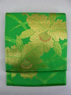 Deep Green Fukuro Obi, Leaves and Gold Orchid Pattern / 鮮やかな緑地 細葉と金の蘭柄 六通京袋帯   【リサイクル着物・アンティーク着物・帯の専門店 あい山本屋】#Kimono #Japan