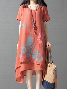 Justfashionnow Summer Dresses 1 Vintage Dresses Daily Swing V Neck Floral-Print Holiday Sleeveless Dresses Dress Flower, Floral Dress Outfits, Bohemian Mode, Linen Dresses, Linen Skirt, Moda Fashion, Casual Dresses For Women, Dress Casual, Ladies Dress Design