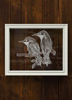 This listing is for original artwork (NOT a print), paper-cutting artwork of two lover birds on a branch. The papercut artwork look great framed and mounted on your wall and also make beautiful and thoughtful gifts for special occasions. It is a perfect housewarming gift for a friend, family or just a treat for yourself. It looks beautiful displayed either on a piece of card stock paper in a regular frame, or expressly between two pieces of glass in a floating frame.  The artwork size is…
