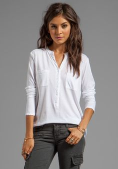Michael Stars Beautiful Tees Long Sleeve Henley in White