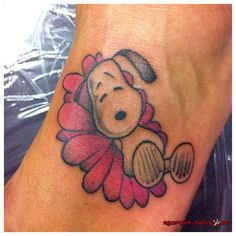 Snoopy Flower Tattoo