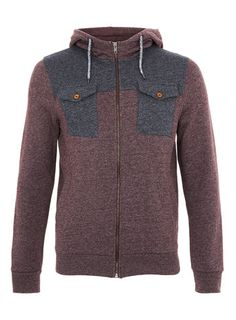 TOPMAN Burgundy/Navy Textured Double Chest Pocket Hoody: got this in XS. :D