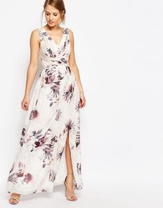 Little Mistress   Little Mistress Plunge Front Chiffon Maxi Dress in Floral at ASOS