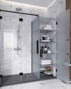 NEWGLASS - Mampara plegable Beach Bathrooms, Small Bathroom, Welcome To My House, Bathroom Tile Designs, Bathroom Medicine Cabinet, Sweet Home, Shower, Home Decor, Toilets