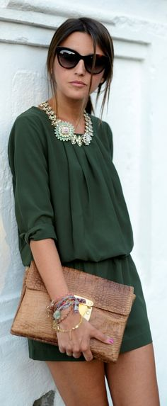 Deep green is as versatile as navy. Dress it up with statement jewelry and a chic clutch.