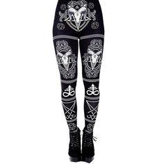 f6e2d3cc248bf Gothic Print Leggings Sizes: S to 5XL Gothic Leggings, Skull Leggings,  Black Leggings