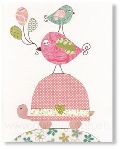 Elephant Nursery Art Baby Decor Kids Wall Bird Pink I Believe Can Fly Print