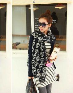 Fashion Stunning Lady Long Skull Scarf Wrap Stole Scarves