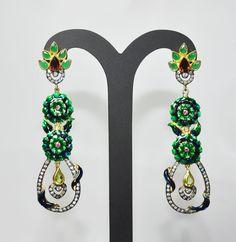 Emerald Garnet Peridot & Pink Tourmaline Gemstone Studded .925 Silver Earrings Contact Us - gehnastore@gmail.com