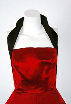 Sorelle Fontana Couture Ruby-Red and Black Satin Halter Party Dress Black Satin Dress, Red Velvet Dress, Vintage Outfits, Vintage Fashion, Vintage Clothing, Old Fashioned House, Iconic Dresses, Future Fashion, Italian Fashion