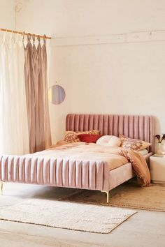 pink bedroom design simple bedroom for girl velvet bed frame nighslee memory foam mattress back to school dormitory mattress Bedroom Goals, Velvet Bed Frame, Velvet Headboard, Velvet Bedroom, Velvet Sofa, Bed With Headboard, Mirrors Urban Outfitters, Bedroom Furniture, Bedroom Decor