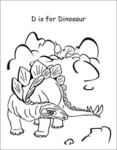 jack and jill coloring page d is for dinosaur