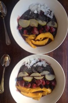 Acai bowl with fruit and seeds  Acai is high in iron and monounsaturated fats which provides energy. Nashi pear is high in water which transports nutrients around the body.  Chia is high in fibre, protein and iron. Fibre helps maintain a healthy digestive system. Protein repairs body cells and tissues. Iron transports oxygen to the cells and removes carbon dioxide.