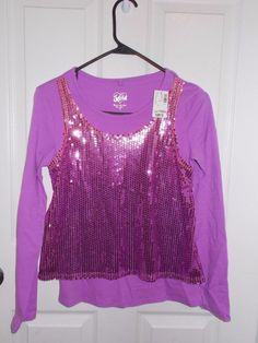 Justice Purple Long Sleeve Tee with Sequin Mock Front Tank Top SZ 14 NEW #Justice #Everyday
