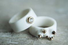 Porcelain jewelry unusual ring band ring minimal by FreakyFoxx