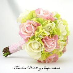 Wedding Bouquet Pink White Roses Green by TimelessWedding on Etsy, $220.00