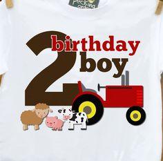 birthday boy farm shirt - any age - old mcdonald theme birthday party shirt perfectly adorable. $16.50, via Etsy.