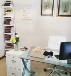 My new home office with a #whiteChair & glass & metal desk from #officeDepot #white #filingCabinet #thriftStoreFind $10 only 😃 tall narrow white wall unit #bookcase from #ikeausa  #writers #sanctuary my creative space light and airy. What you don't see are the floor to ceiling glass doors. Full tour soon on YouTube. Search Kenton & Habiba.