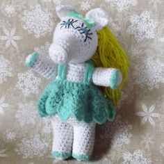 Handmade Crochet Miss Piggy Plush Stuffed Doll Amigurumi Wearing Green Dress With Yellow Hair Blue Eyes and Green Hair Bow by SodaCityFinds on Etsy