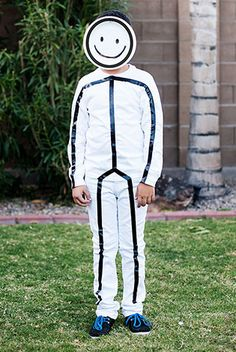 Put together a simple stick figure costume using white clothing, black electrical tape and a paper plate!