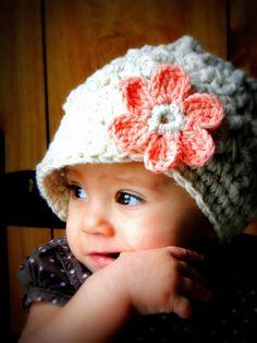 Crochet Baby Hat, kids hat, crochet newsboy hat, hat for girls