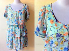 Autumn / Fall Sale: mint green floral layered sundress (small to medium), 60% OFF! $9.99 only by VintageHomage
