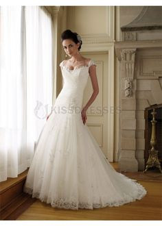 cheap prom dresses Cap sleeve sweetheart chapel train tulle and lace wedding dress - Wedding Dresses on sale,cheap wedding dresses