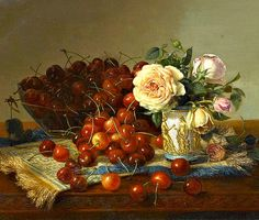 Robert Spear Dunning  Still Life with Roses and Cherries  1875