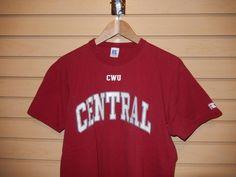 Vintage Central Washington University T-shirt CWU Wildcats Russell Medium Cotton #RussellAthletic #BasicTee
